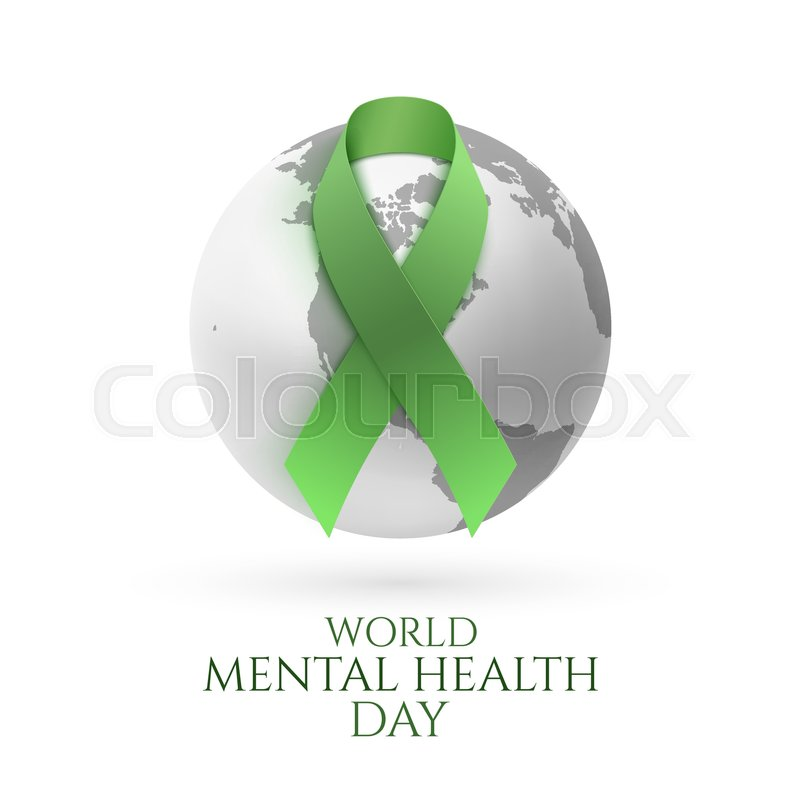 Green Ribbon With Monochrome Earth Icon Isolated On White Background World Mental Health Day Poster Or Brochure Template Vector Illustration