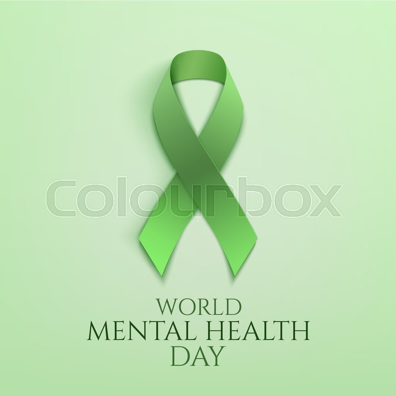 Stock Vector Of World Mental Health Day Background Green Ribbon Poster Or Brochure