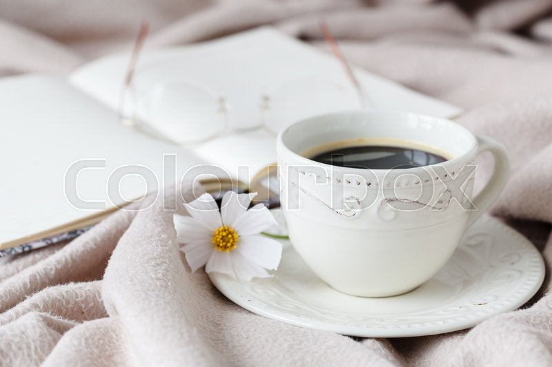 Woman\'s work place in bed. Breakfast, stock photo