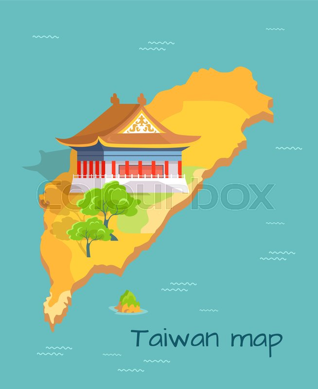 Cartoon taiwan map with traditional asian house and green trees with chinese island in pacific ocean vector illustration china landscape on small part of world map trip to oriental country vector gumiabroncs Image collections
