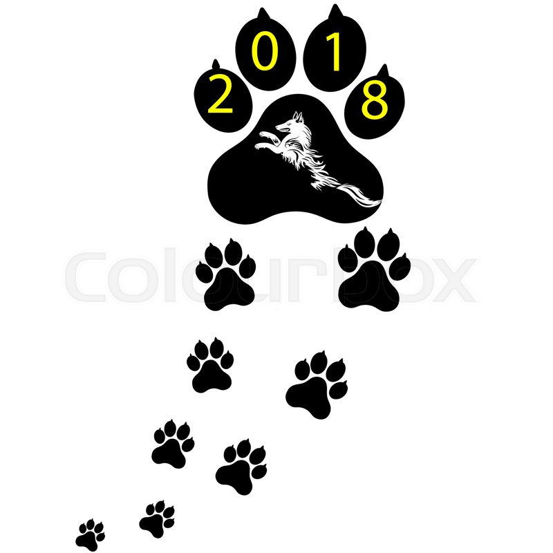 Pet Symbol Footprints Of Dog Puppy Animal Of Chinese New Year Of