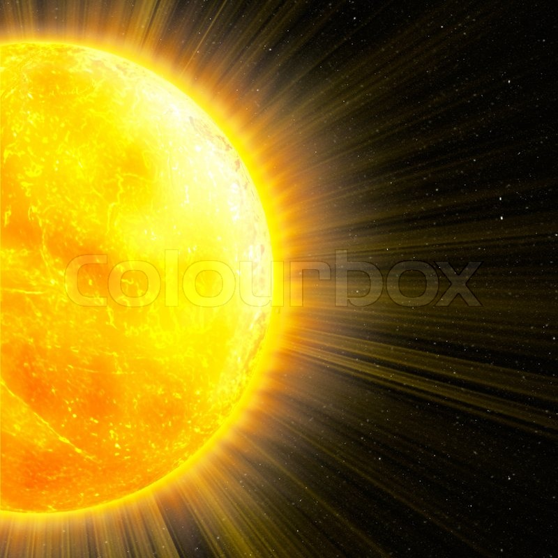 Sun With Rays In Space An Abstract Background Stock