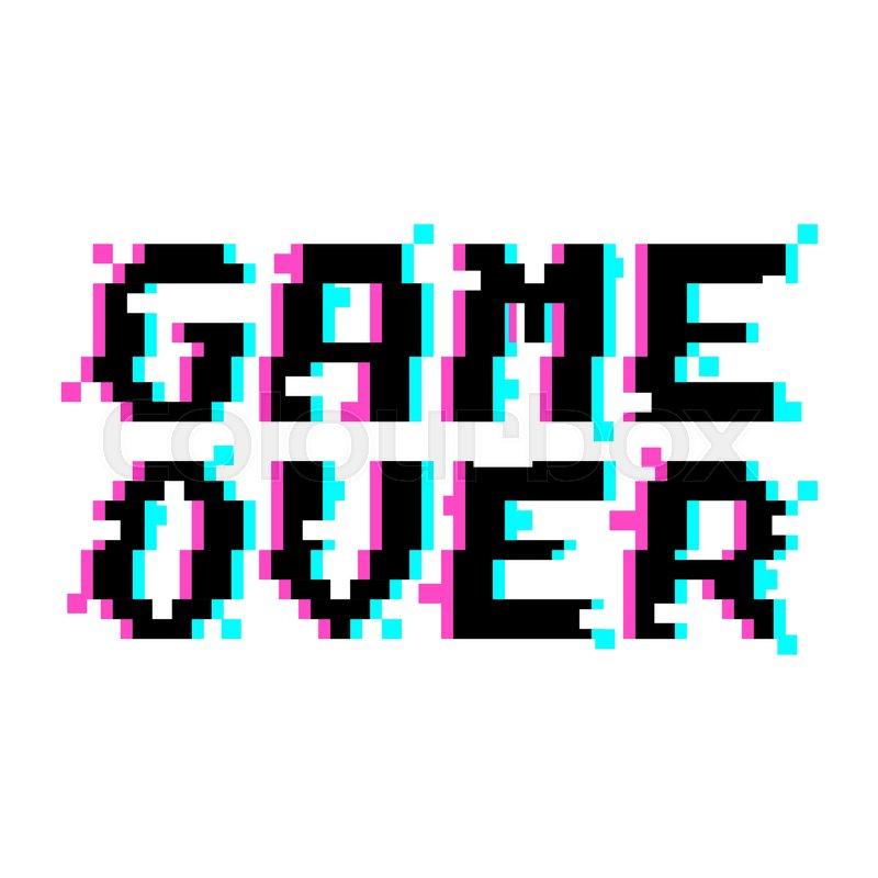 Vector Game Over Phrase In Pixel Art ...