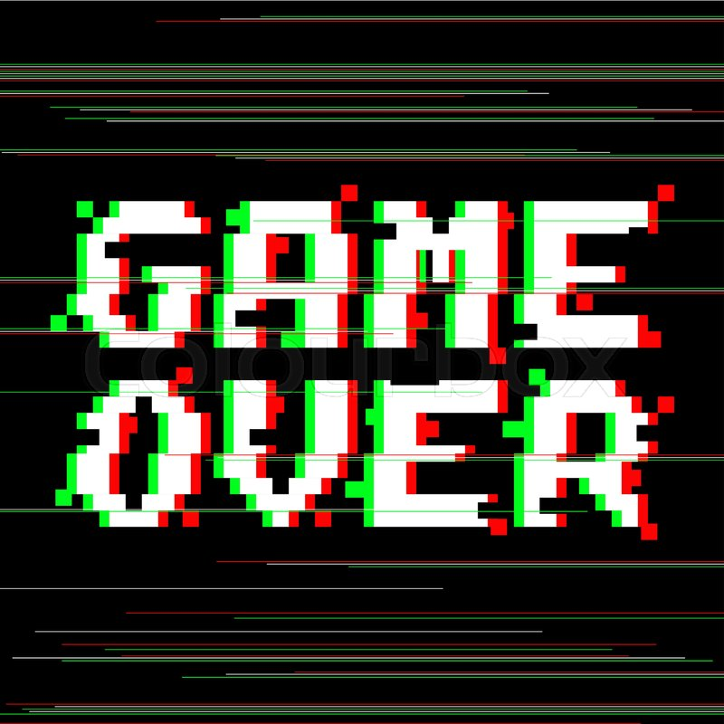 Vector Game Over Phrase In Pixel Art Style With Glitch VHS