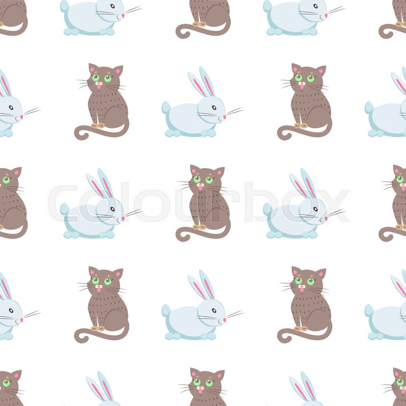 seamless pattern of cute eared rabbit and grey cat vector flat
