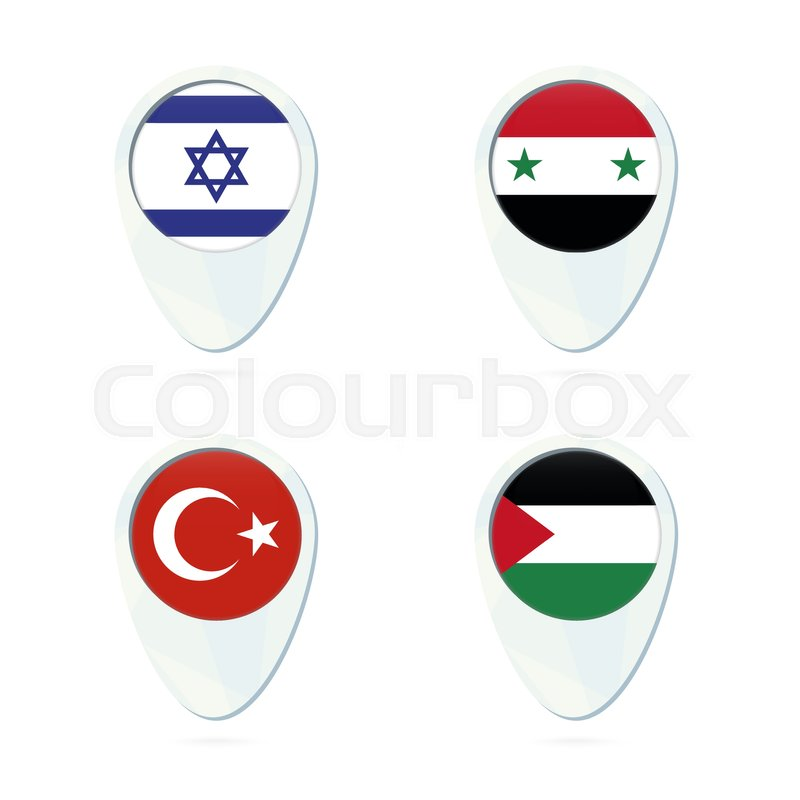Israel, Syria, Turkey, Palestine flag location map pin icon. Israel on multiple locations on map, pinpoint locations on a map, philadelphia location on a map,