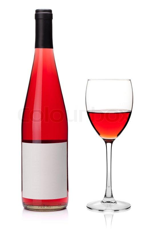 rose wein in ein glas und flasche auf wei em hintergrund stockfoto colourbox. Black Bedroom Furniture Sets. Home Design Ideas