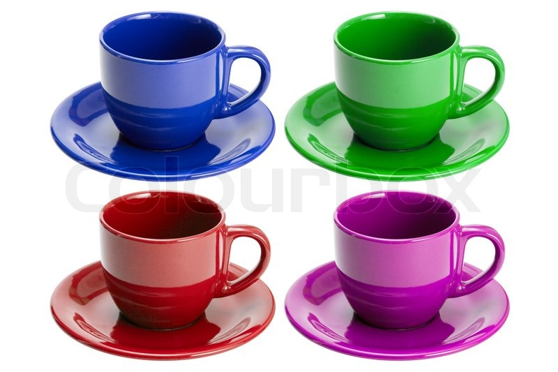 Four Cups And Saucers In Different Colors Isolated On