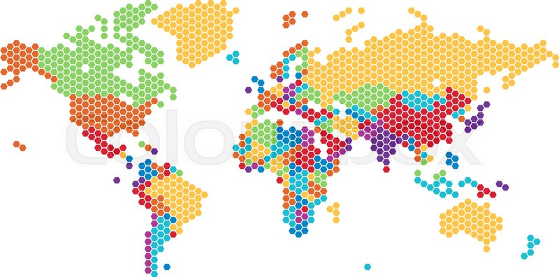 Dotted world map of hexagonal dots on white background vector dotted world map of hexagonal dots on white background vector illustration vector gumiabroncs Gallery