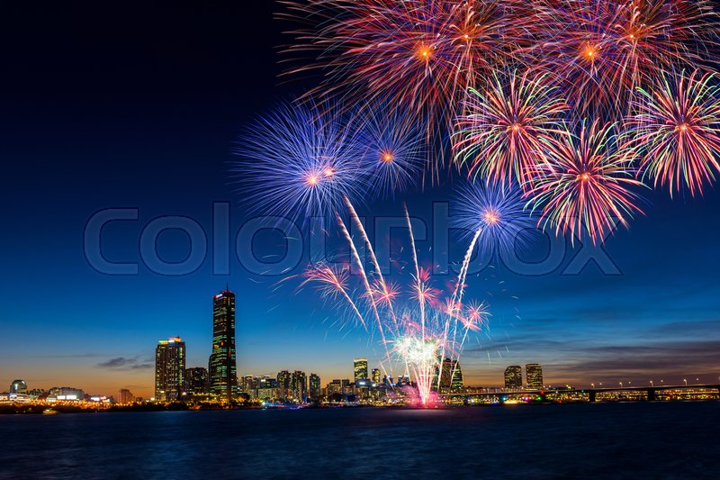 Stock image of 'Colorful fireworks in Seoul ,South Korea.'
