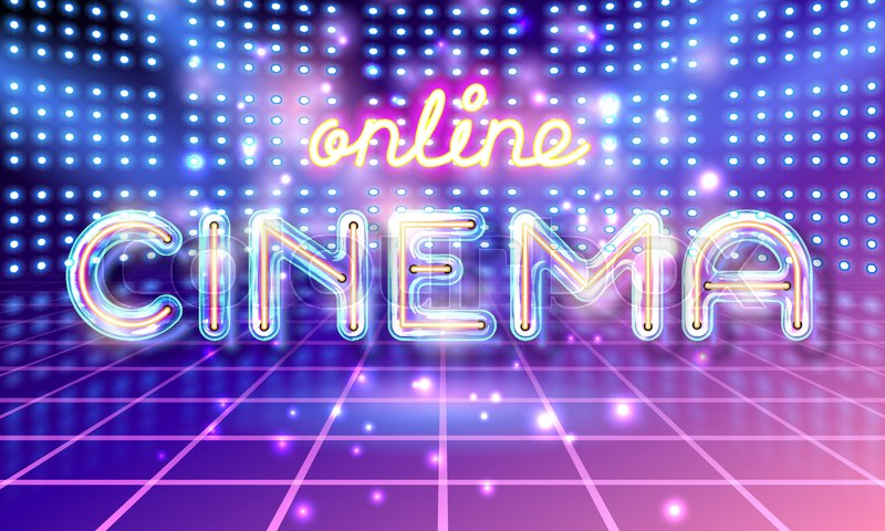Retro Neon Glowing Glass Online CINEMA Lettering With Transparency And Shadows Light Bulb Advertising On Stage Background