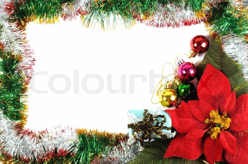 Christmas frame with poinsettia flower and some decorations | Stock ...