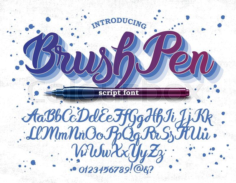 hand drawn brush pen alphabet letters handwritten script font hand