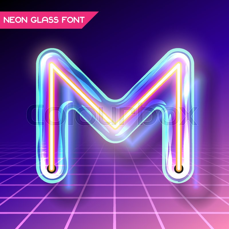 Retro Neon Glowing Glass Alphabet Font With Transparency And Shadows 3D Light Bulb Isolated Letter M On Dark Backgrounds