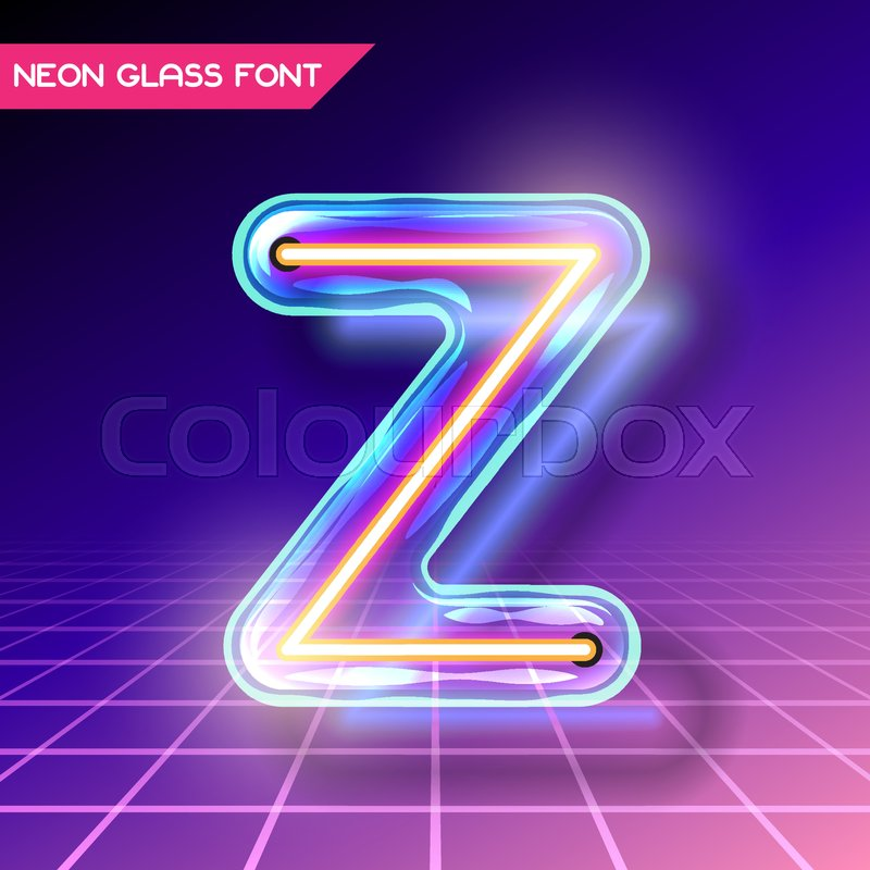 Retro Neon Glowing Glass Alphabet Font With Transparency And Shadows 3D Light Bulb Isolated Letter Z On Dark Backgrounds