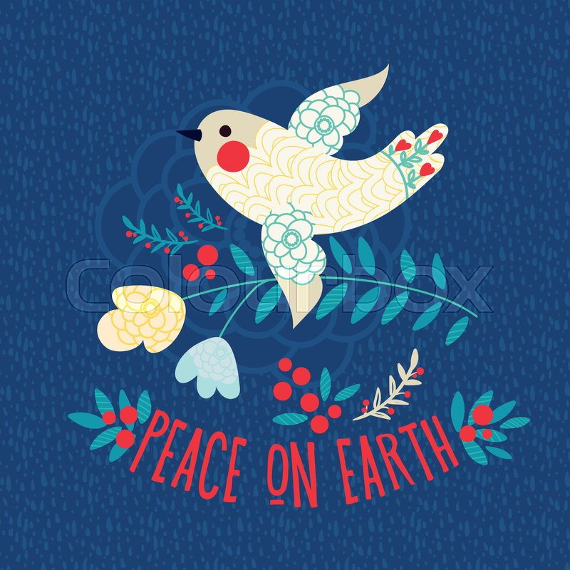 Christmas card. Peace on earth. Vintage White dove on a blue ...