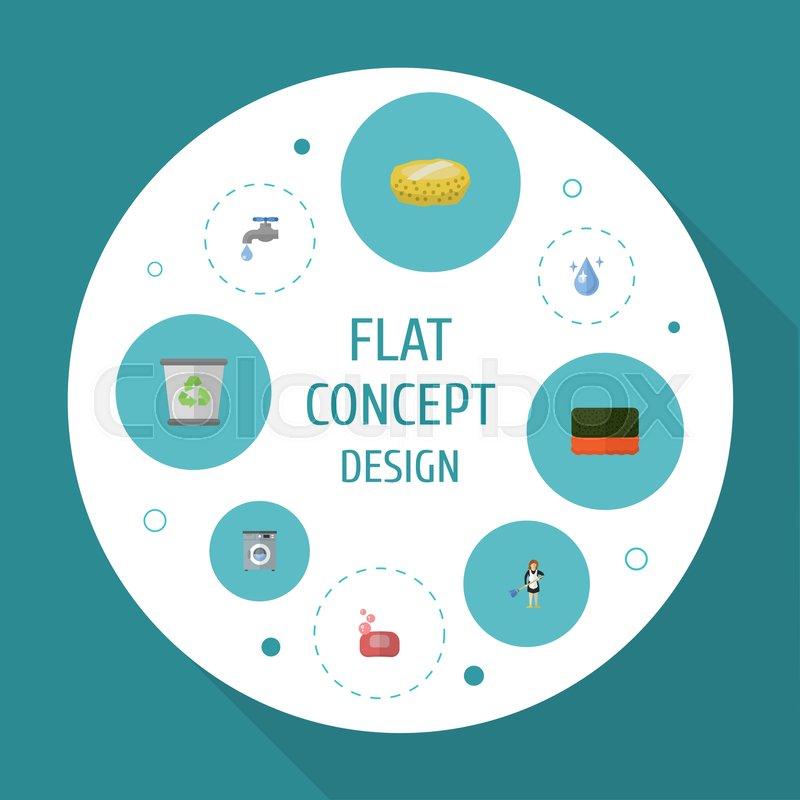 Flat Icons Foam Aqua Sponge And Other Vector Elements Set Of