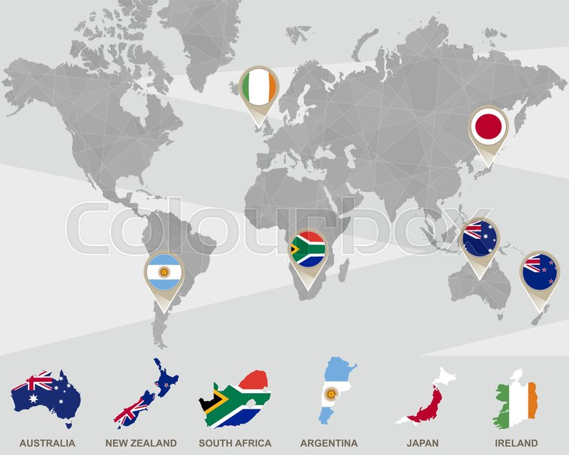 World map with australia new zealand south africa argentina world map with australia new zealand south africa argentina japan ireland pointers vector illustration stock vector colourbox gumiabroncs Gallery