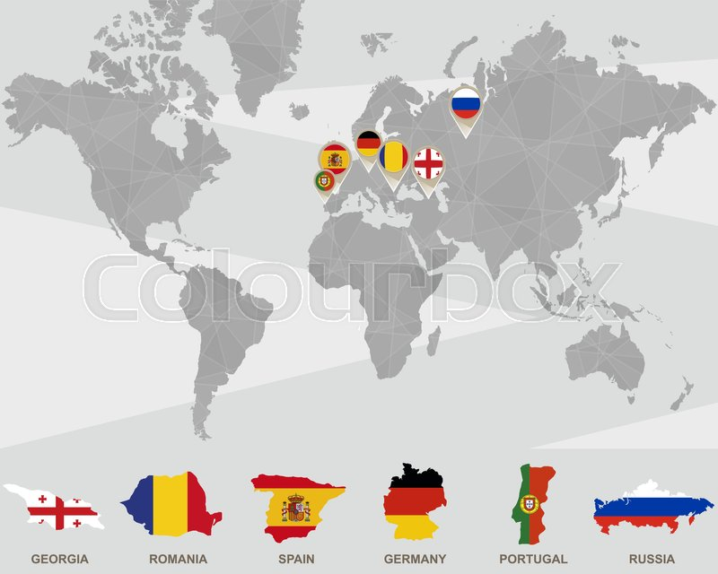 Spain On Map Of World.World Map With Georgia Romania Stock Vector Colourbox