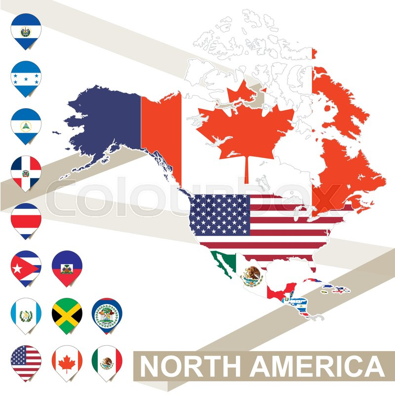 North America Map With Flags North Stock Vector Colourbox