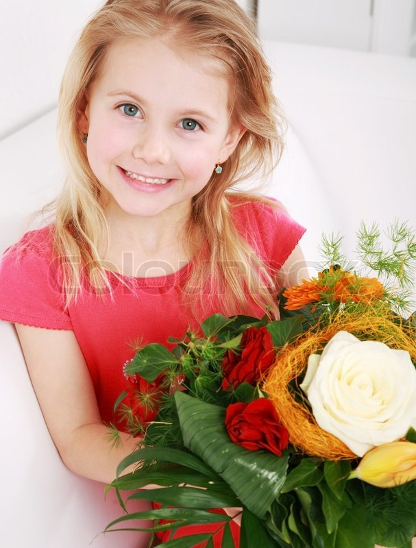 Beautiful Small Girl With Bouquet For Mother S Day