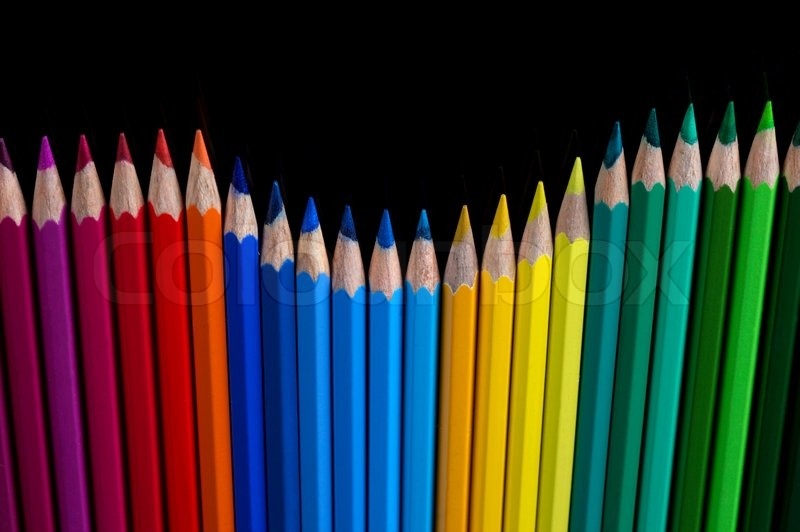 palette of color pencils on a black background | stock photo, Powerpoint templates