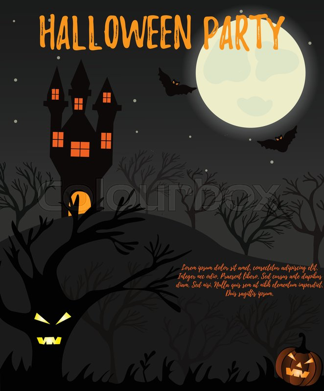 Halloween Night Background With Creepy Stock Vector Colourbox