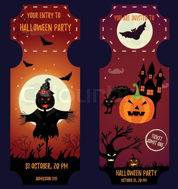 Ticket Halloween Party. Invitation template. Halloween background ...