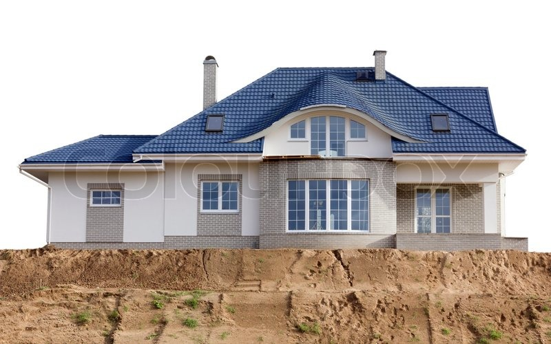 House With A Blue Slate Roof Built On A Sandy Hill