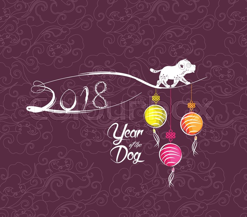 Happy new year 2018 greeting card chinese new year of the dog happy new year 2018 greeting card chinese new year of the dog stock vector colourbox m4hsunfo