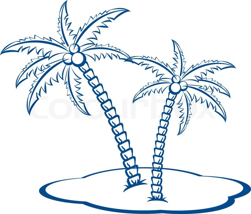 Silhouette Palm trees with coconuts #2 One-colour vector symbol on ...