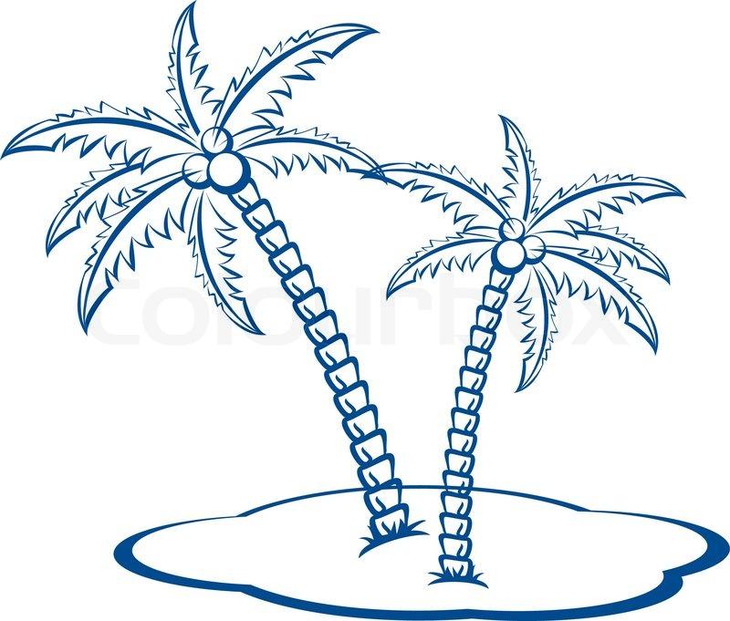 silhouette palmen mit kokosnüssen nr 2 one farbvektor