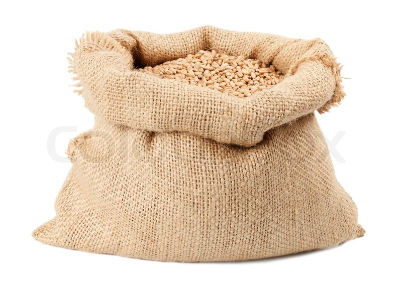 Sack of wheat grains bag isolated on white background ...