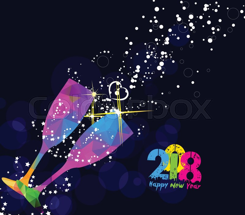 happy new year 2018 greeting card or poster design with colorful triangle glass stock vector colourbox