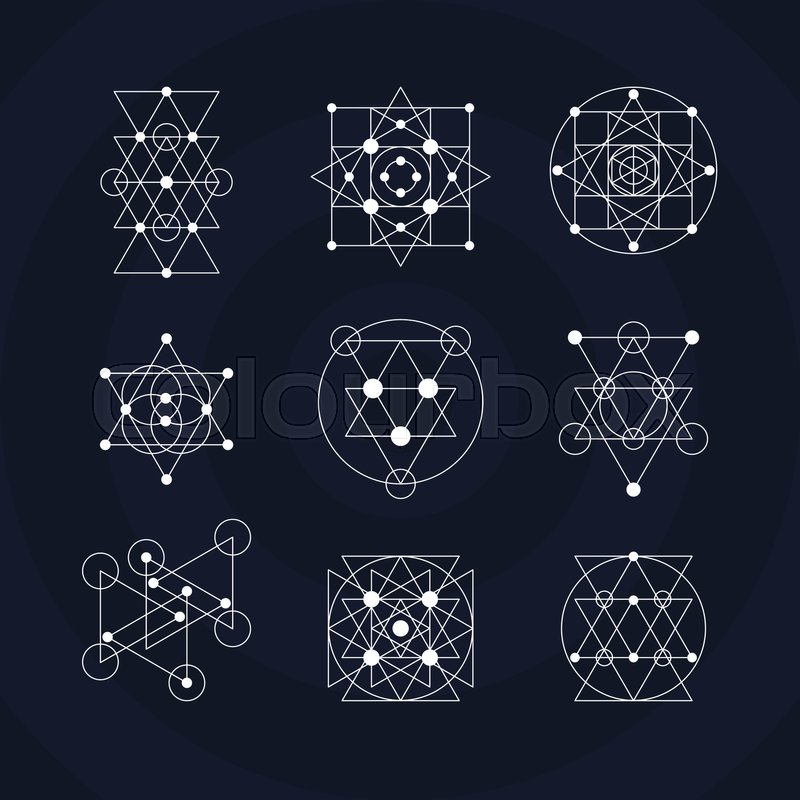 sacred geometry symbols set alchemy vector illustration stock