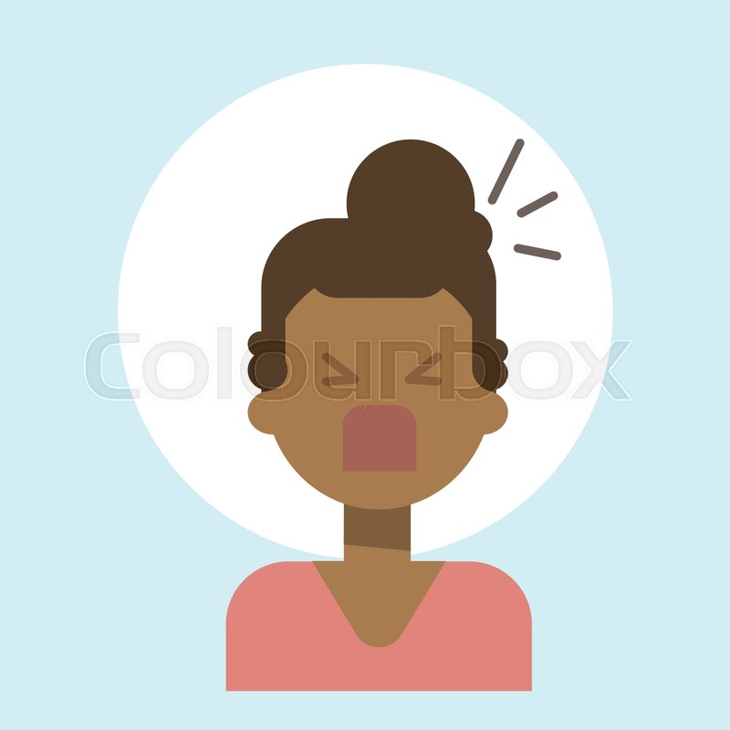 african american female screaming emotion profile icon woman