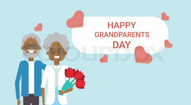 Happy grandparents day greeting card holiday banner african american happy grandparents day greeting card holiday banner african american grandfather and grandmother couple together vector illustration vector m4hsunfo