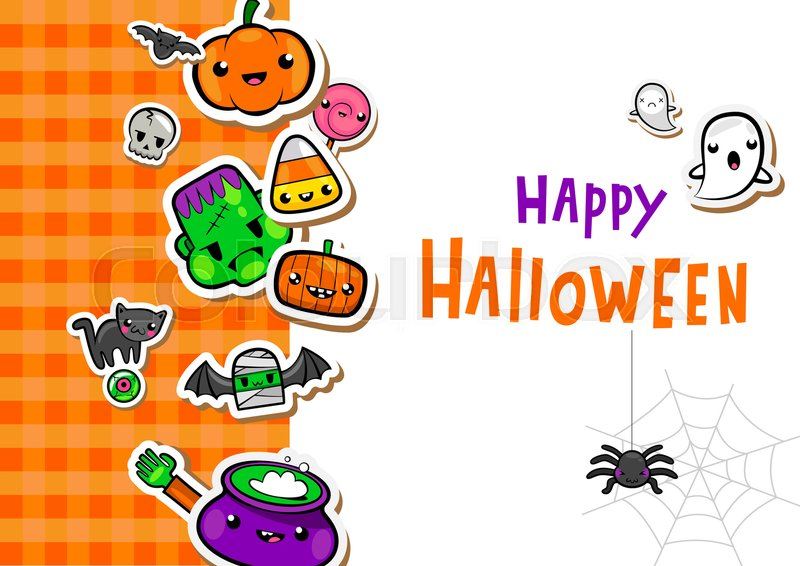 Halloween Greeting Card With Cute Symbols In Lovely Kawaii Style