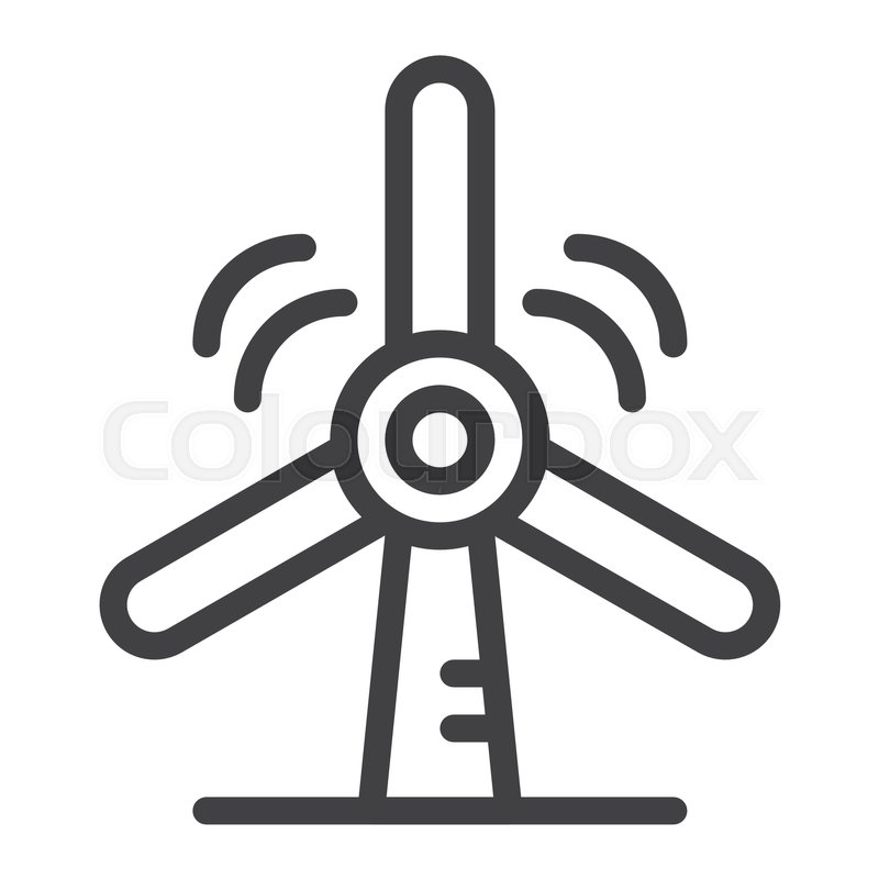 Wind Turbine Line Icon Outline Vector Sign Linear Style Pictogram