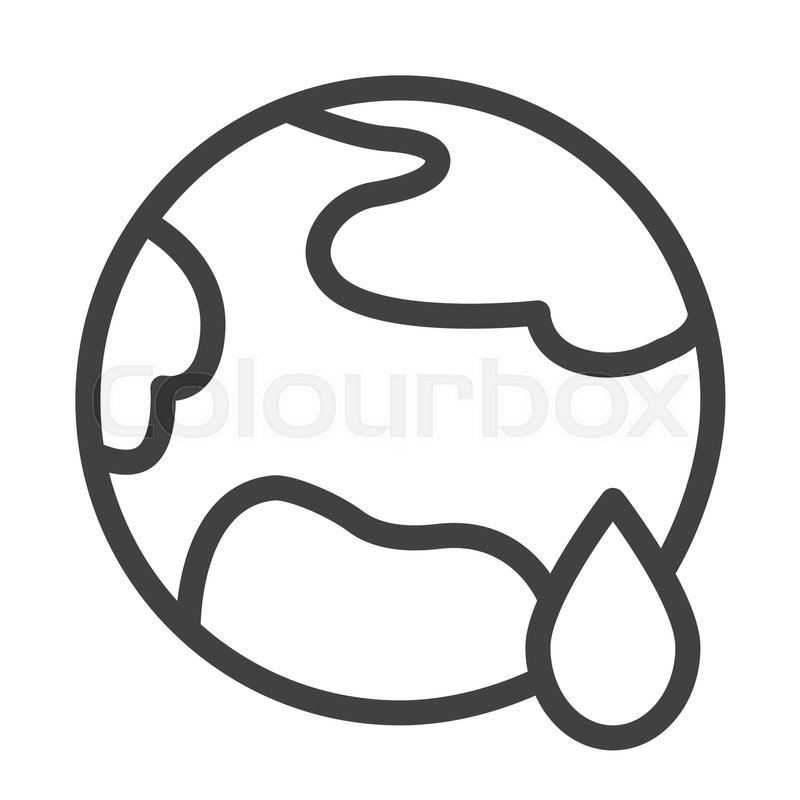 Planet Earth Global Warming Line Icon Outline Vector Sign Linear