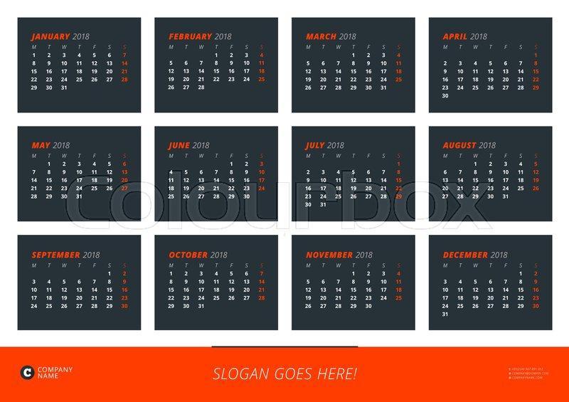 Wall Calendar Poster For 2018 Year Vector Design Print Template
