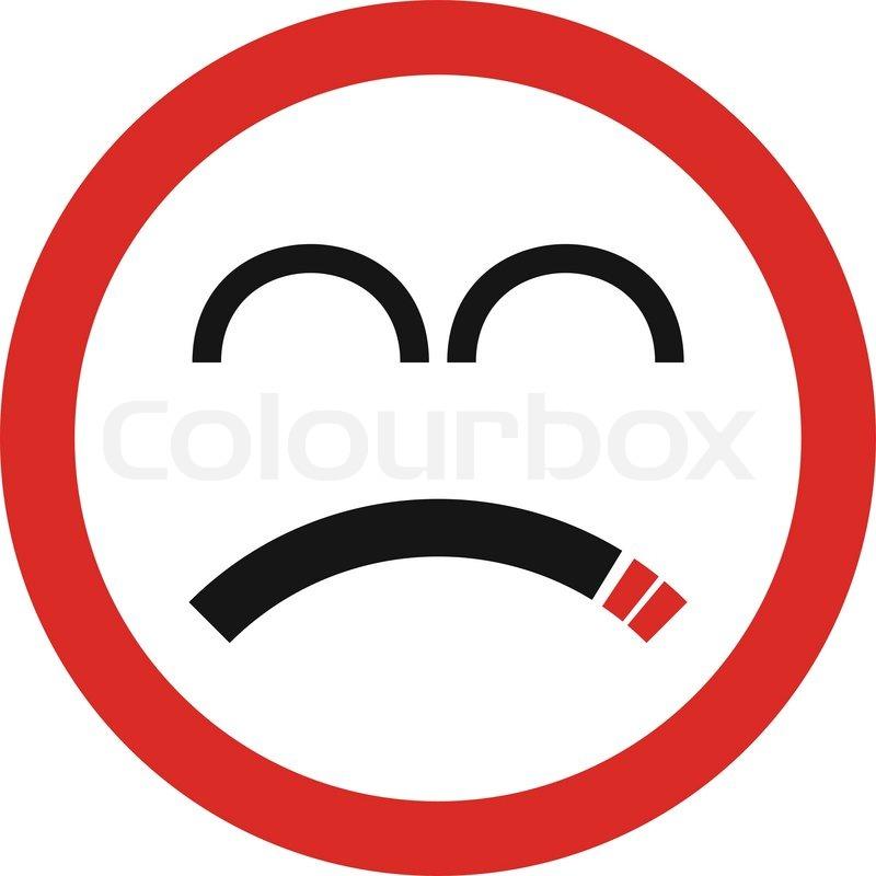 Unhappy smoking sign in vector | Stock Vector | Colourbox