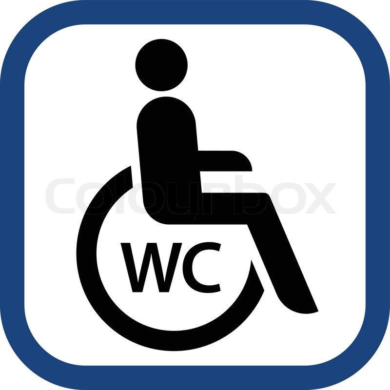 Wheelchair Toilet Sign In Vector