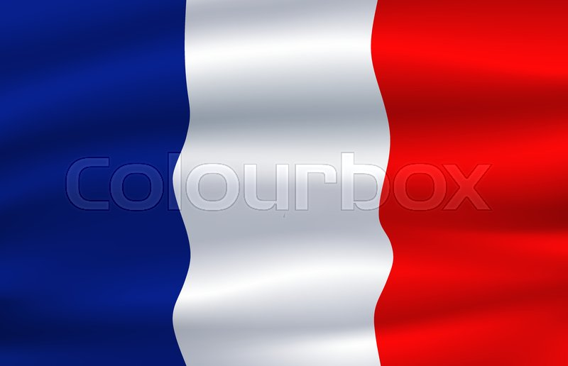 French Tricolour Waving In The Wind National Symbol Of France With