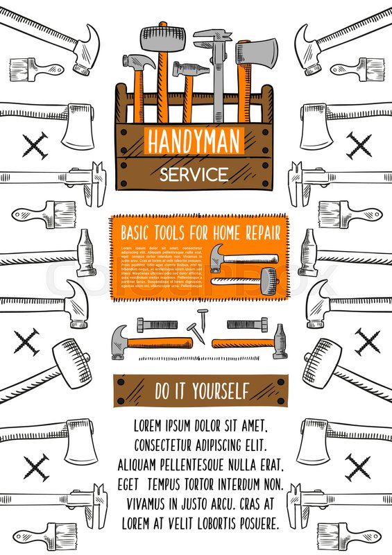 Repair tool banner with toolbox sketch hammer wrench paint hammer wrench paint brush spanner screw and nail arranged into frame with text layout in center handyman service and diy advertising poster design solutioingenieria Image collections
