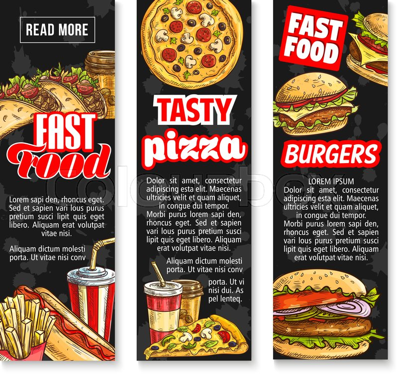 Fast Food Takeaway Lunch With Drink Banner Templates Hamburger