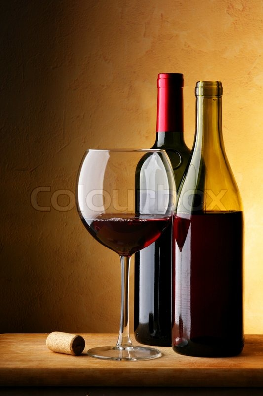 Still Life With Bottle Of Red Wine And Glass Stock Photo