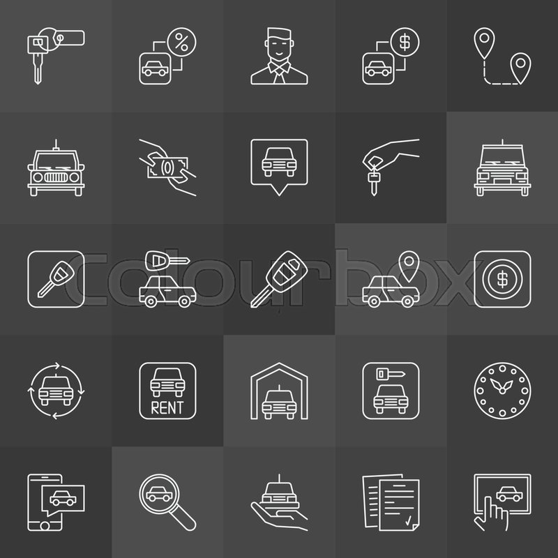 Car Rental Icons Collection Vector Rent A Car Outline Symbols On