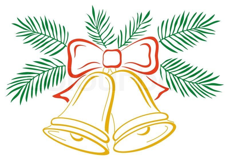 weihnachtsdekoration symbolische piktogramm goldenen glocken mit roter schleife und gr ne. Black Bedroom Furniture Sets. Home Design Ideas