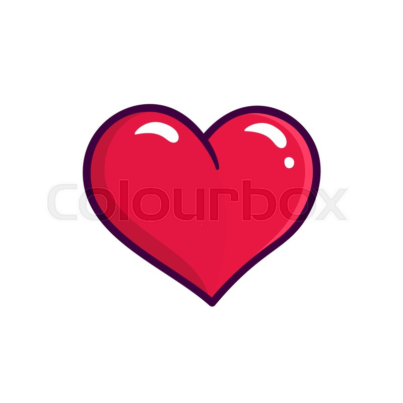 Red Heart Icon Isolated On White Background Love Symbol In Outline